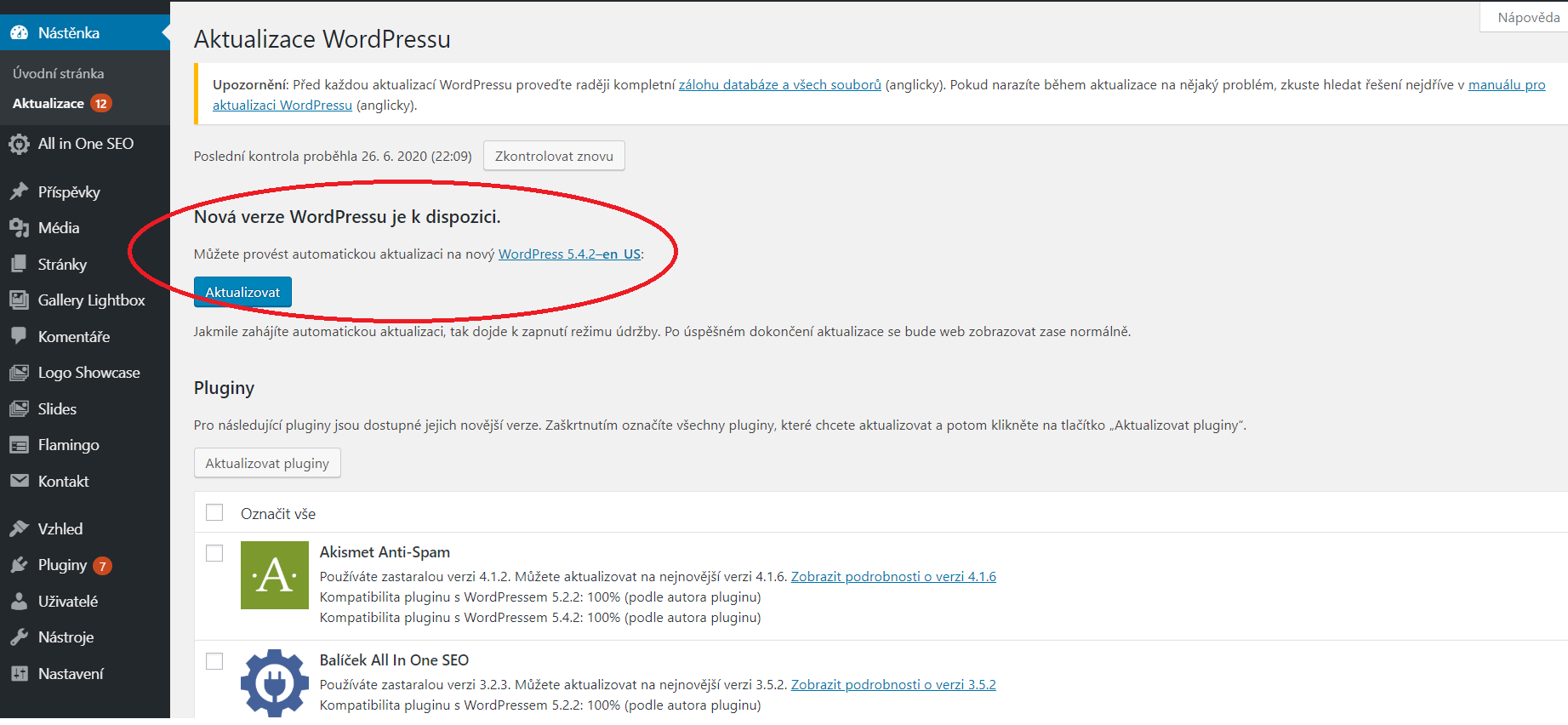 WordPress 5.4 - aktualizace v administraci