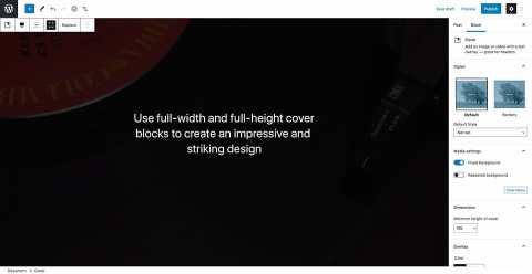 WordPress - blok přes celou obrazovku