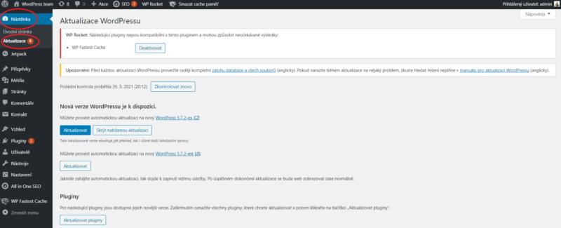 Aktualizace WordPressu v administraci