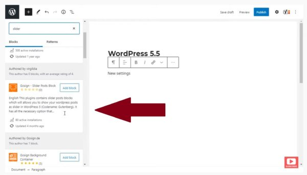 WordPress - adresář bloků