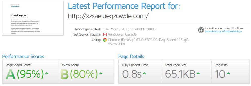 Page Speed - WordPress