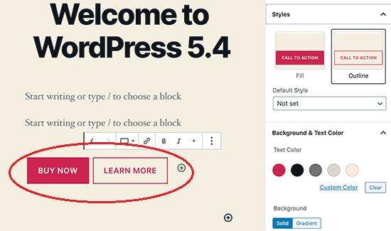 WordPress 5.4 - Buttons Block