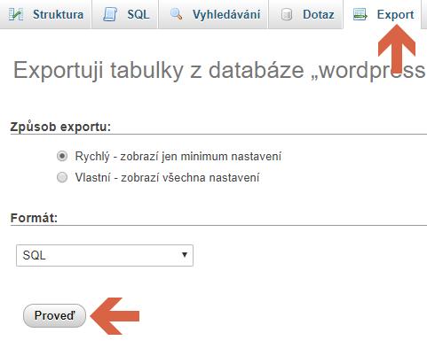 Ruční záloha databáze WordPressu