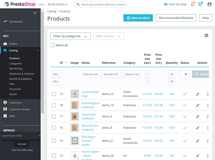 PrestaShop product management