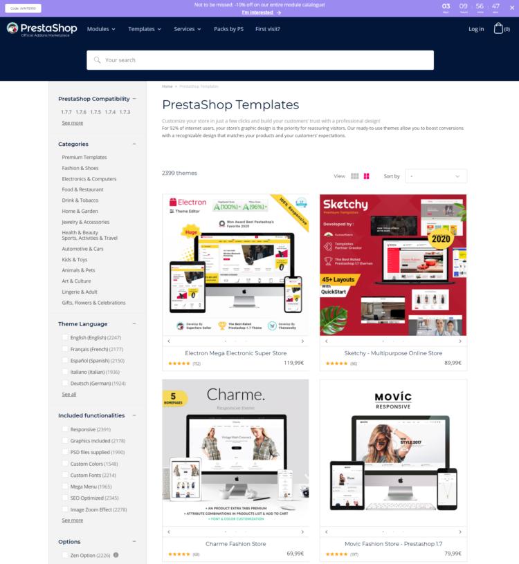 PrestaShop databáze témat