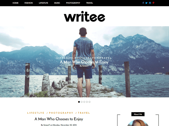 WordPress šablona Writee