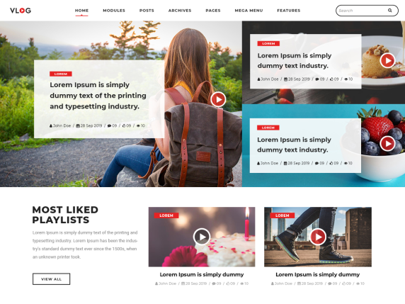 WordPress šablona Vlogger Video Blog