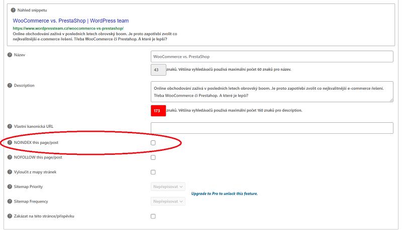 Nastavení viditelnosti stránek pro vyhledávače v administraci systému