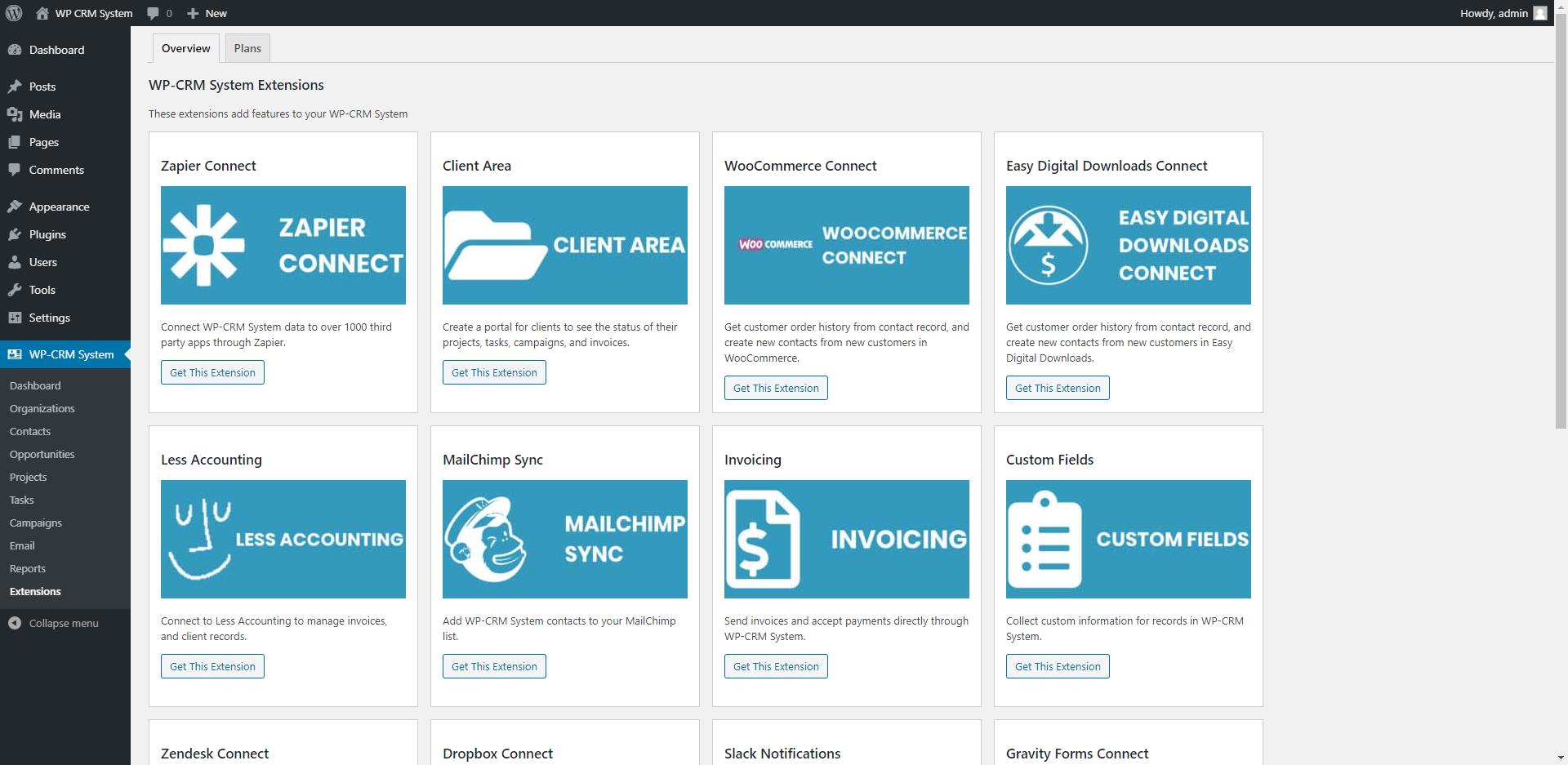 WordPress CRM plugin - administrace