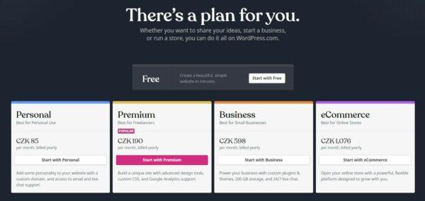 WordPress cenové plány